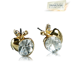 Picture of Golden apple pierced earrings with Swarovski Element