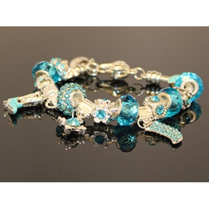 Picture of 925 Sterling Silver plated Turquoise crystal Pandora Style Charm Bracelet