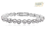 Picture of 18K White Gold Overlay Tennis Bracelet with Clear SWAROVSKI Elments