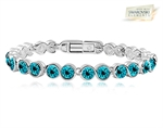 Picture of 18K White Gold Overlay Tennis Bracelet with Turquoise SWAROVSKI Elments