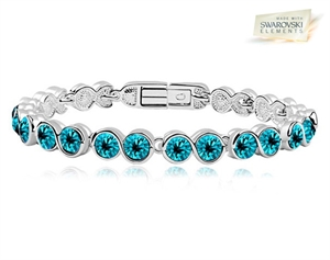 Picture of 18K White Gold Overlay Tennis Bracelet with Turquoise SWAROVSKI Elments - S