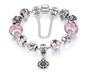 Picture of 925 Sterling Silver plated   crystal Pandora Style Charm Bracelet
